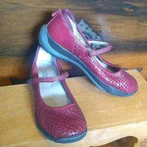 Jambu Red Leather Mary Jane Shoes